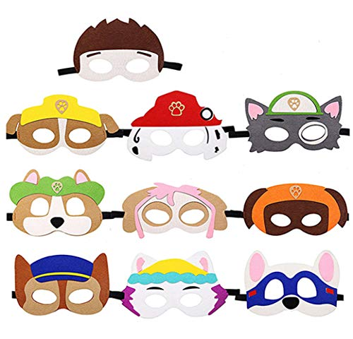 Price comparison product image Dlazm Puppy Party Birthday Masks for Paw Patrol Toys-Party Supplies for Kids (Set of 10)