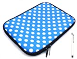 Emartbuy ® Bundle Pack Of White Kapazitive / Resistive Touchscreen Stylus Pen & Polka Dots Blau / Weiß (7 Zoll Tablet / Ereader / Netbook) Water Resistant Neoprene Soft-Zip Case / Cover Für Odys Neo X7 Tablet (7 Zoll Tablet)