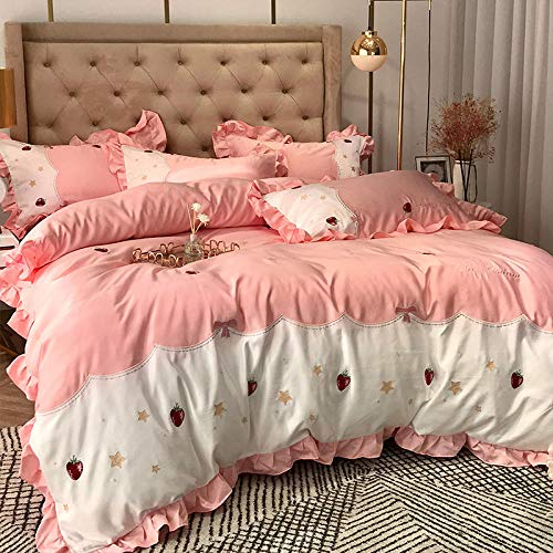 geek cook Four-piece bed,Cotton four-piece silk embroidered quilt cover cotton bed sheet European silky bedding-Pink 1_1.5m bed 【Quilt 200 * 230】