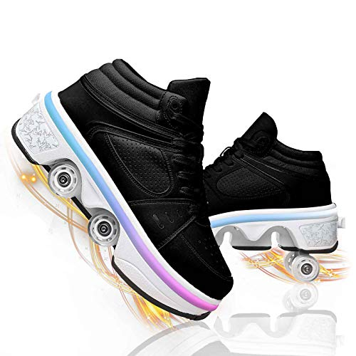 TAOXUE Patines de Ruedas Deformación LED Retráctiles Zapatos de Parkour De Recreación Niños Adultos Multiusos Zapatos de Patinaje