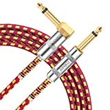 AIHIKO Guitar Lead Cable 10Ft/3m 6.35mm Braided TS Mono Instrument Performance Cord 1/4 Straight to Right Angle Jack with Gold Plugs for Electric Bass and Keyboard, Red/Yellow Tweed