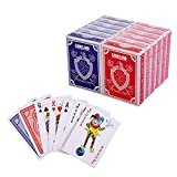 GAMELAND 12 Decks (6 Red/6 Blue) Premium Playing Cards Set - Plastic-Coated, Poker Size, Standard Index