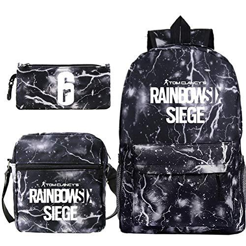 BGSSBP Regenbogen Six Siege Spiel Trend Rucksack Casual Schüler Schultasche Kleine Umhängetasche Federbeutel Dreiteiliges Set,09,42x29x16cm