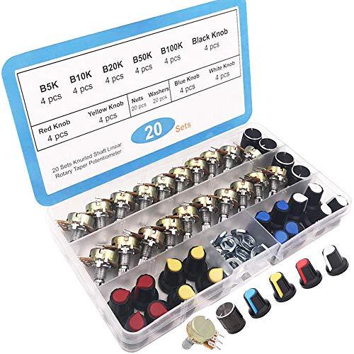 RUNCCI-YUN 20Pcs Lineal Cónico Rotativo Potenciómetro Kit, 3 Terminales B-Tipo Estéreo Audio Potenciómetro con Perilla, (B5K B10K B20K B50K B100K Ohm)