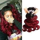 RACILY Ombre Brazilian Hair Body Wave 4 Bundles, Dark Red 1B Burgundy Virgin Human Hair Extensions, 99J Bodywave Weave (18'20'22'24')