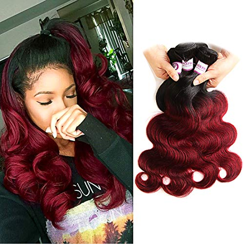 "RACILY Ombre Brazilian Hair Body Wave 4 Bundles, Dark Red 1B Burgundy Virgin Human Hair Extensions, 99J Bodywave Weave (18""20""22""24"")"