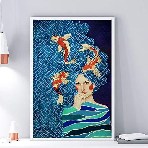 AJleil Puzzle 1000 Piezas Flores nórdicas Retrato de niña Moderna Pintura artística Pintura Decorativa Puzzle 1000 Piezas educa Gran Ocio vacacional, Juegos interactivos familiares50x75cm(20x30inch)