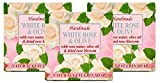 Barras de jabón naturales hechas a mano de rosa blanca y oliva con agua de rosas, aceites de coco y oliva, glicerina vegetal, Pastillas de jabón calmantes e hidratantes, 3x60g