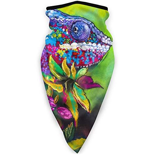 BJAMAJ Pastel Schilderij Kameleon In Houten Outdoor Gezicht Mond Masker Winddicht Sport Masker Ski Masker Schild Sjaal Bandana Mannen Vrouw