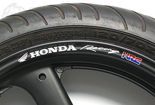 8stk Racing HRC Aufkleber Felgenrandaufkleber Laminiert passt zu Honda Motorrad Felgen Sticker Decal 10mm Logo Sticker / Plus Schlüsselringanhänger aus Kokosnuss-Schale / Bike VFR Fireblade