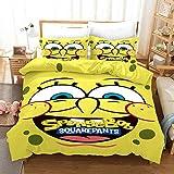 Yumhi Spongebob Bedding Set Yellow Spongebob Squarepants Comforter Cover Sets Queen Size 3 Pieces Kids Boys Girls Yellow Duvet Cover Sets 1 Duvet Cover 2 Pillowcase