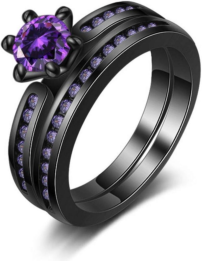 Honghu Black Gun Plated Amethyst Wedding Rings Set Engagement Antique Promise Bridal Eternity Size 5-10