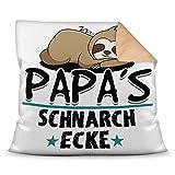 Print Royal Kuschel-Kissen inkl. Füllung mit Spruch für Papa - Papas Schnarch-Ecke - Bestes...