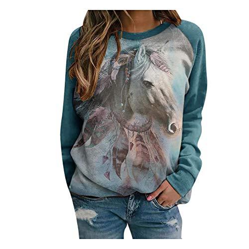 Frauen Sweatshirt Mode O-Ausschnitt Pferdedruck Spleißen Langarm Blusen Easy T-Shirt Tops