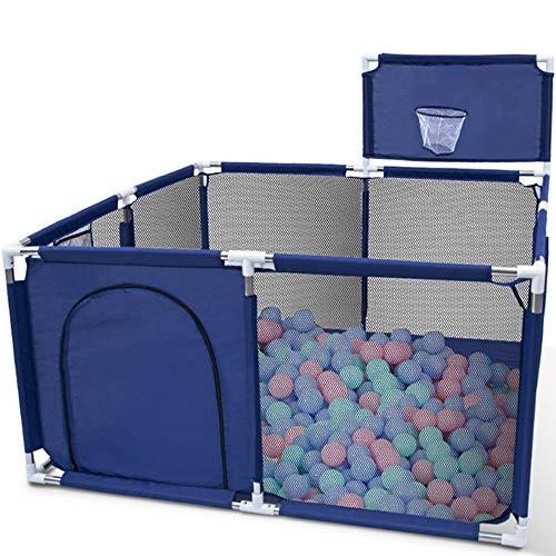 Orzbow Parque Infantil Bebés, Plegable Valla de Juegos para Niños,Corralito para bebés - Valla de Seguridad para Bebés con Marco de la Bola (Azul-Cuadrado)
