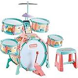 ドラムセット おもちゃ 子供用 キッズドラム 初心者用 1歳〜3歳〜6歳 ジャズドラム 太鼓 早期教育 音楽玩具 ミニドラム 打楽器 知育玩具 初級学習 組み立て簡単 生日プレゼント(卡)