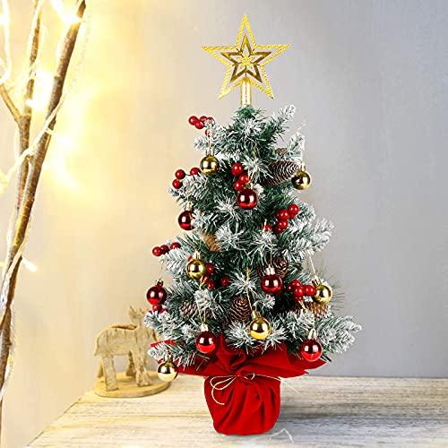 OurWarm Mini árbol de Navidad artificial de mesa de 60 cm con bolas de Navidad adornos de bola, pequeño árbol de Navidad con estrella de árbol de Navidad para decoraciones de Navidad