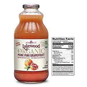 Lakewood Organic PURE Pink Grapefruit Juice, 32-Ounce Bottles (Pack of 6) |