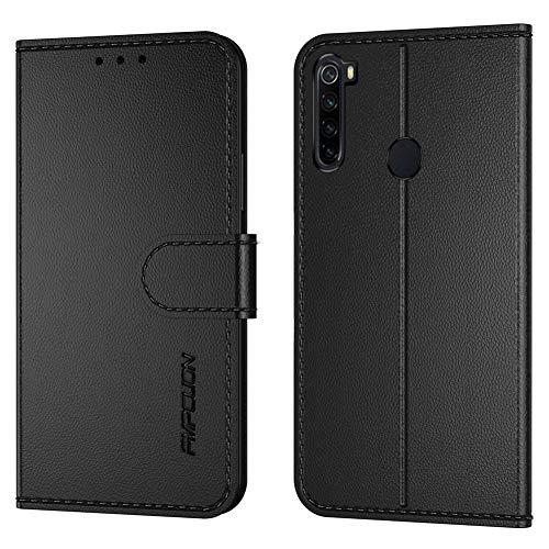 FMPCUON Handyhülle Kompatibel mit Xiaomi Redmi Note 8T(Neueste),Premium Leder Flip Schutzhülle Tasche Hülle Brieftasche Etui Hülle für Xiaomi Redmi Note 8T(6,3 Zoll),Schwarz
