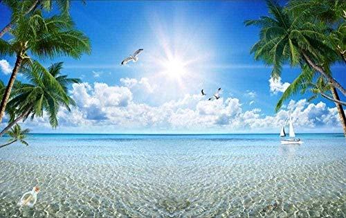 ZZXIAO Blauer Himmel und weiße Wolken Strandpalme wandpapier fototapete 3d effekt tapete Wohnzimmer Schlafzimmer Hintergrundbild-400cm×280cm