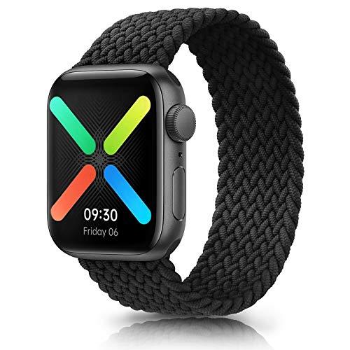 WOOZ Bracelet Montre Elastiques Tressée pour Apple Watch 44mm 40mm 42mm 38mm , Bracelet Élastique Nylon de Remplacement pour iWatch Séries 6/5/4/3/2/1/SE (42/44mm L, Noir)