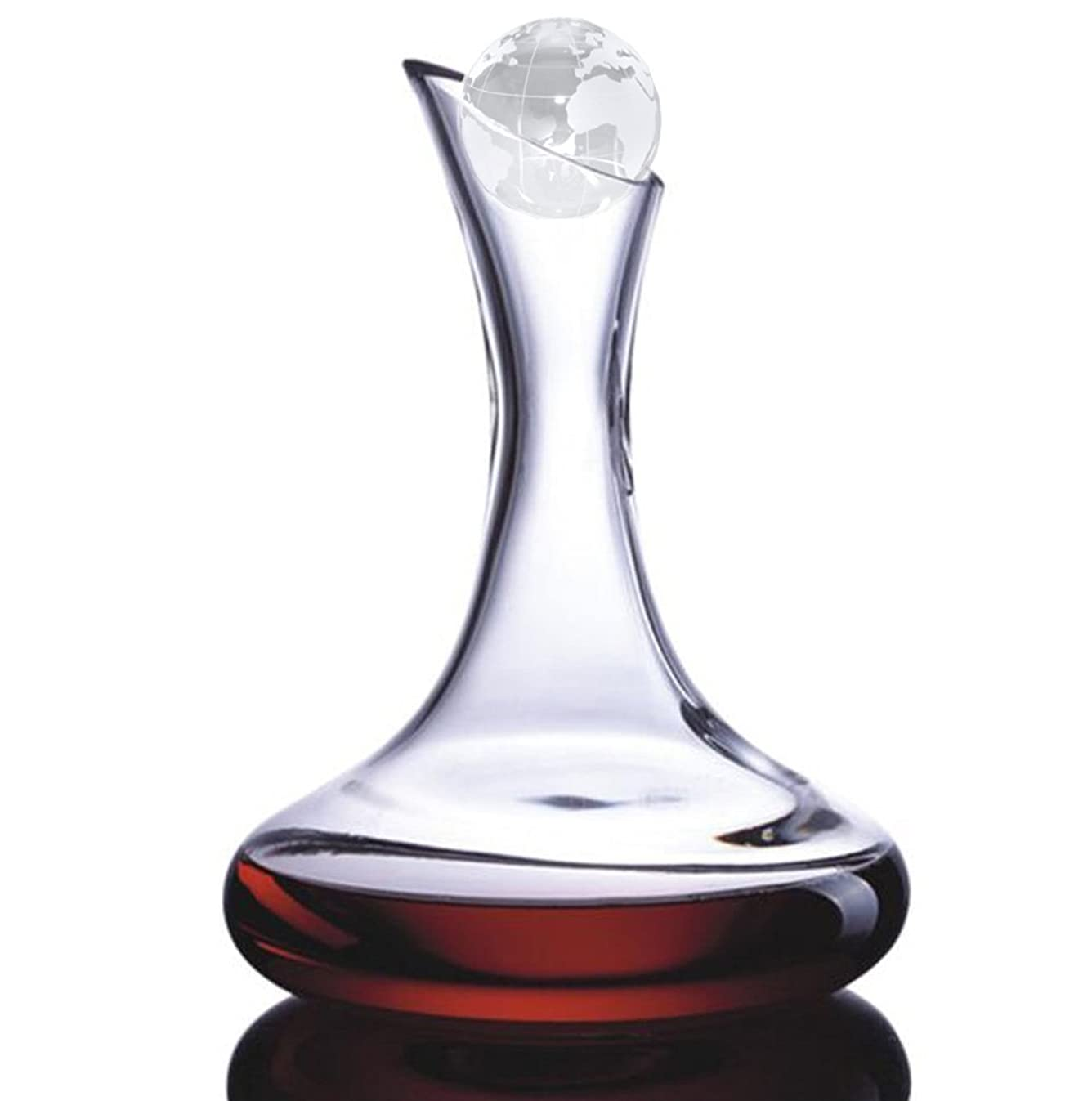Amlong Crystal Lead Free Crystal Wine Decanter, Red Wine Carafe, Wine Gift, Wine Accessories (Large with Globe Stopper)