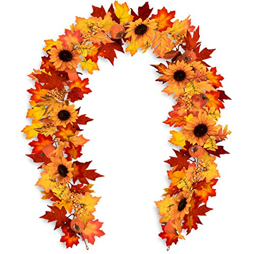 Whaline 6 Ft Fake Fall Maple Leaf Garland with Two Hooks Autumn Sunflower Pumpkin Berries Hanging Vine Decoration for Wedding Party Thanksgiving Dinner Fireplace Door Frame Doorway Backdrop Decor
