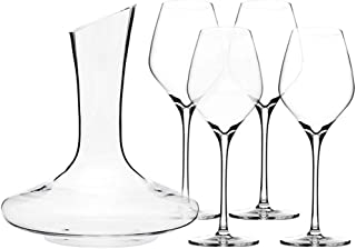 Triangle 5-piece Wine Decanter Set with Glasses, Hand Blown Lead Free Crystal Wine Glasses Set of 4 and Red Wine Decanter Aerator, Dishwasher Safe