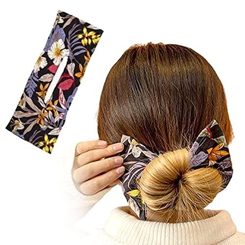 Haarknoten-Haargummi in 6 Farben von Deft Bun Maker, stilvolle mehrfarbige Tuch Magic Clip Hair Buns Haarteil Frauen Sommer geknotet Draht Druck Stirnband Zubehör (schwarz)