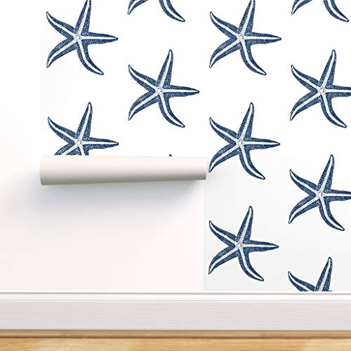 Spoonflower Peel and Stick Removable Wallpaper, Starfish Marine Life Beach Sea Shells Nautical Blues Star Theme Print, Self-Adhesive Wallpaper 12in x 24in Test Swatch