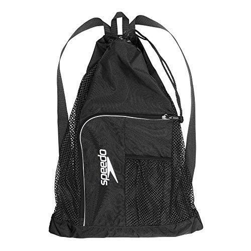Speedo Deluxe Ventilator Mesh Bag Mochila  Unisex  Negra Blanca  Talla única