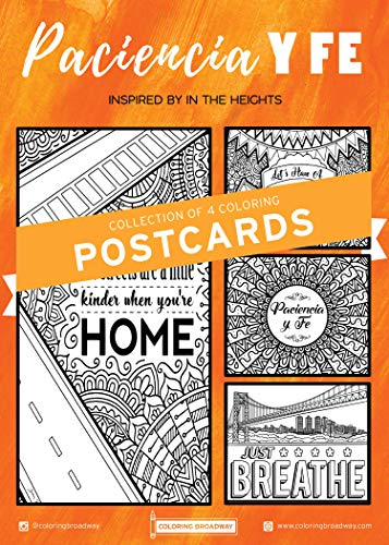 """IN THE HEIGHTS   """"Paciencia y Fe"""" Collection   COLORING POSTCARDS by Coloring Broadway   Hand-drawn illustrations - Printed on matte card stock (5 x 7) - Set of 4 Individual Postcards"""