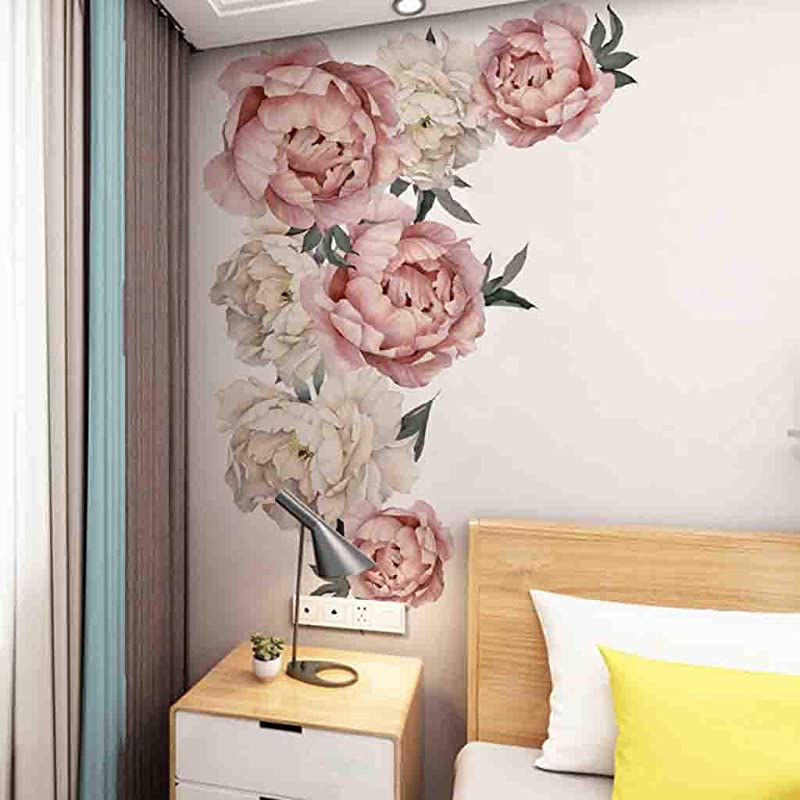 Shan S Peony Rose Flowers Wall Sticker Art Nursery Decals Kids Room Home Decor Gift