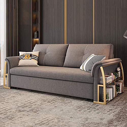 SND-A Sofa Convertible Bed,Modern Foldable Sleeper Sofa Living Room Furniture,Multifunctional Futon Couches Pull Out Sofa Furniture with Storage Box And New Armrest,Gray,1.85M