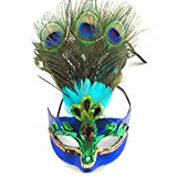 Masquerade Mask Peacock Feathers Mask Magic Sequins Venetian Half Mask for Halloween Party Evening Prom Costume Accessory