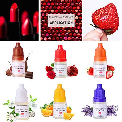 Qiekenao Lip Gum Drops, Diy Handgemaakte Zeep Lippenbalsem voor Lipstick Eetbare Rozenbottel Smaak 6 Flessen 5ml