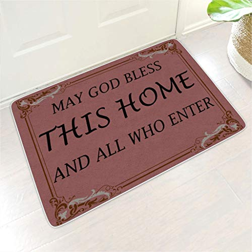 Knowikonwn Welcome Mat Bless This Home Rectangular Door Mat Low Profile Outside Dorm use - for Home Decor white8 24x35 inch