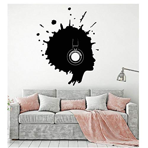 MINGKK - Adhesivo decorativo para pared, diseño de música con silueta para mujer, 56 x 72 cm