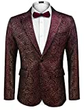 COOFANDY Men's Sequin Blazer Suit Jacket Slim Fit One Button Fashion Tuxedo Jacket for Dinner Party Wedding Prom (Red02, X-Large)