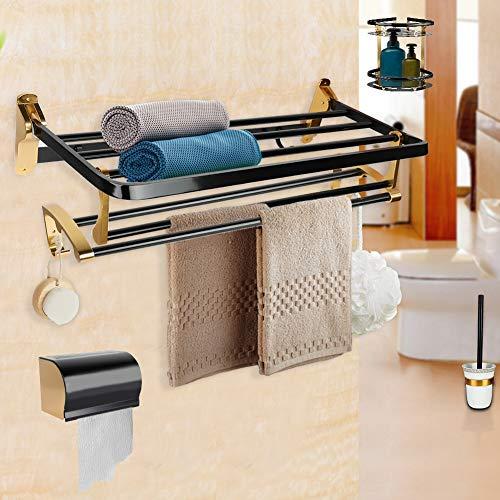 Nannday Bad Handtuchhalter, 6 Stück Toilette Organizer Set Raum Aluminium Bad Handtuch Regale Racks Toilettenbürstenhalter für Home Hotel
