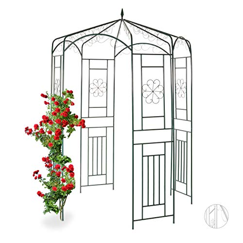 Relaxdays Metal Rose Pavilion, Growth Support, Garden Trellis, HWD 250x160x160cm, Dark Green