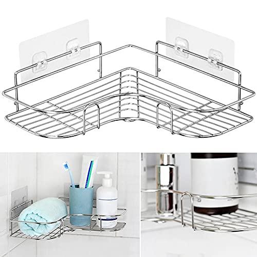 PPuujia Estante de ducha de esquina de acero inoxidable triangular champú jabón almacenamiento estantes venta (color como se muestra)
