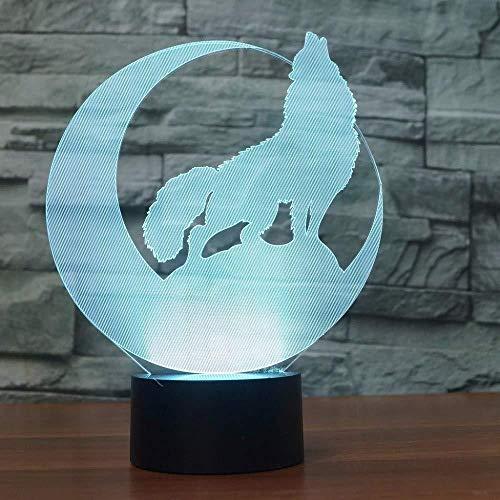 Acht licht 3D wolf in de maan genaamd nachtlampje LED dier tafellamp 7 kleuren USB slaapkamer nacht slaap lamp familie decoratie kinderen geschenk