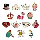 DreamJing 14 broches creativos para cuellos de goteo, insignias de aceite de goteo de dibujos animados, regalo de cumpleaños para niñas, accesorios de ropa de gato, taza de café, conejo, corona)