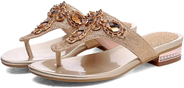 Ailj Women's Summer Sandals, Large Size Flat Sandals Fashion Rhinestone Open Toe Flat Sandals gold