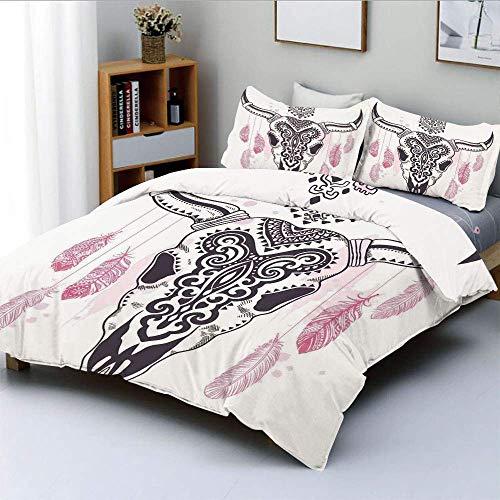 Juego de funda nórdica, calavera animal tribal con adornos étnicos y plumas Aztek nativo en arte popular Juego de cama decorativo de 3 piezas con 2 fundas de almohada, rosa blanco negro, el mejor rega