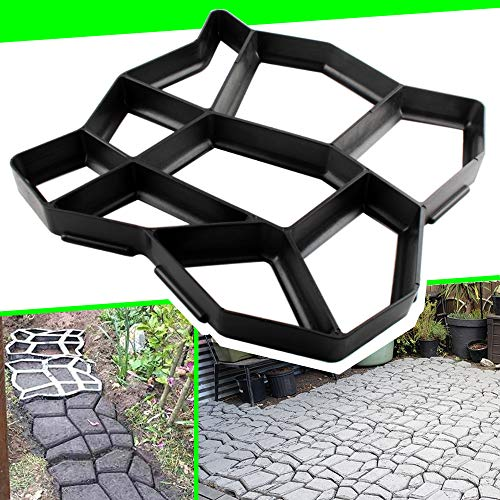 CJGQ 17'x17'x1.6' Walk Maker Reusable Concrete Path Maker Molds Pathmate Stone Moldings Stepping Stone Paver Yard Patio Lawn Garden DIY Walkway Pavement Paving Moulds (Irregular)