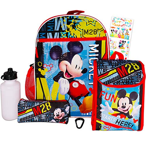 Disney Mickey Mouse Backpack and Lunch Box Set for Kids Boys Girls - 6 Pc 16' Mickey Backpack, Lunch Bag, Water Bottle, Stickers, and More Bundle (Mickey Mouse Party School Supplies)