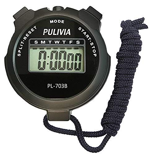 PULIVIA Sports Stopwatch Timer Lap Split Memory Digital Stopwatch, Countdown Timer Pace Mode 12/24 Hour Clock Calendar with Alarm, Large Display Water Resistant Battery Included (Single Lap PL703-B)