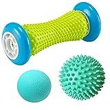 Massageball Fußmassage Set, 3 Stück Fußmassageroller und Massagebälle für Plantarfasziitis...